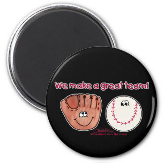 Baseball and Baseball Glove Team 2 Inch Round Magnet