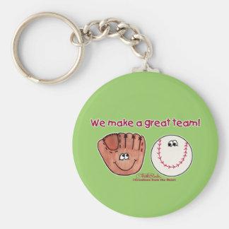 Baseball and Baseball Glove Team Basic Round Button Keychain