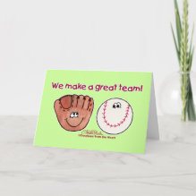 Baseball and Baseball Glove Team Card - Fun baseball themed design featuring a smiling baseball and smiling baseball glove characters make a great team.