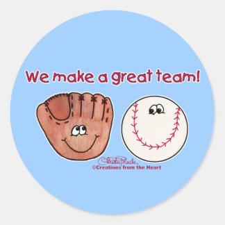 Baseball and Baseball Glove Team Classic Round Sticker