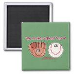 Baseball and Baseball Glove Team Fridge Magnets