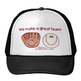 Baseball and Baseball Glove Team Trucker Hats