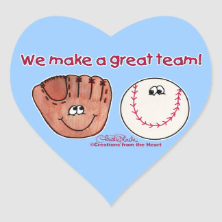 Baseball and Baseball Glove Team Heart Sticker