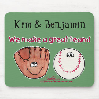 Baseball and Baseball Glove Team Mouse Pad