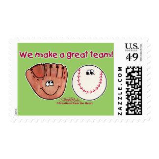 Baseball and Baseball Glove Team Postage Stamp