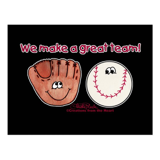 Baseball and Baseball Glove Team Postcard