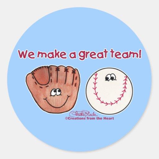 Baseball and Baseball Glove Team Round Sticker