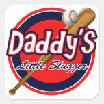 Baseball and Bat Daddy's Little Slugger Square Sticker