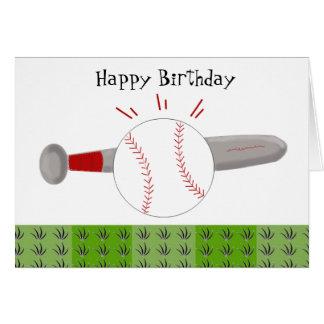 Baseball and Bat Happy Birthday Stationery Note Card