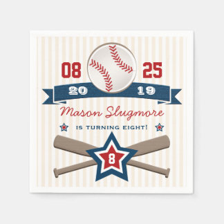BASEBALL AND BATS BIRTHDAY NAPKIN