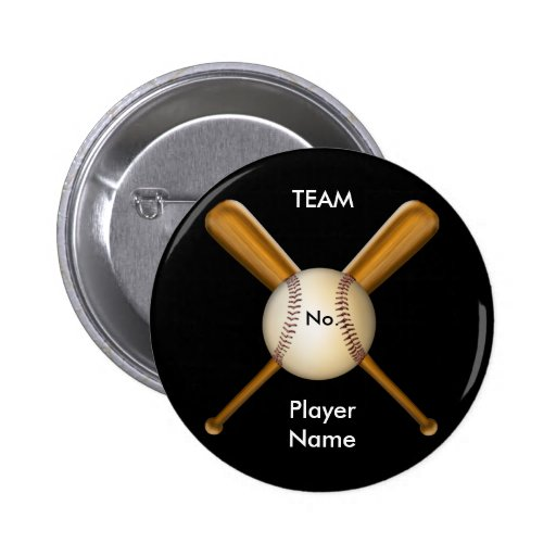 Baseball and Crossed Bats Customizable Button