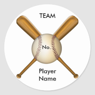 Baseball and Crossed Bats Customizable Classic Round Sticker