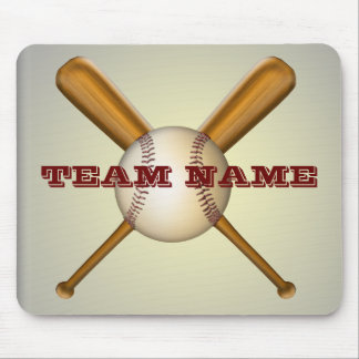 Baseball and Crossed Bats Customizable Mouse Pad