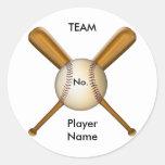 Baseball and Crossed Bats Customizable Stickers