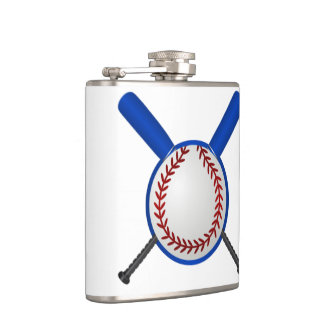 Baseball and Crossed Bats Flask