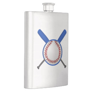 Baseball and Crossed Bats Hip Flask