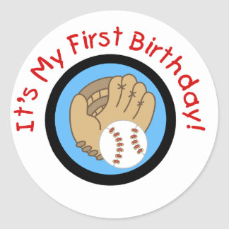 Baseball and Glove 1st Birthday Tshirts and Gifts Classic Round Sticker