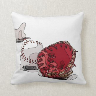 Baseball  and glove are on white graphic throw pillow