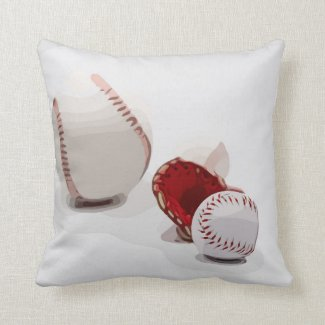 Baseball  and glove are on white watercolor throw pillow