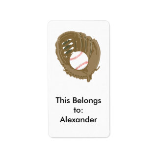 baseball and glove mitt label