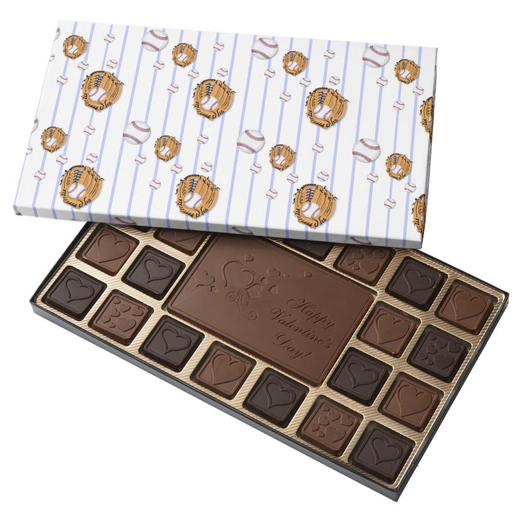 Baseball and Glove Pattern 45 Piece Box Of Chocolates