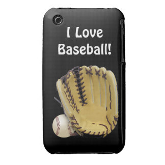 Baseball and Mitt-I Love Baseball iPhone 3 Cases