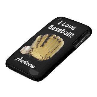 Baseball and Mitt-I Love Baseball-Personalize Name Case-Mate iPhone 3 Case