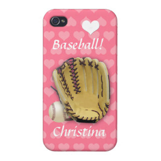Baseball and Mitt-Pink Hearts/Personalize Cover For iPhone 4
