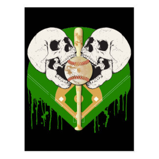 BASEBALL AND SKULLS POSTCARD
