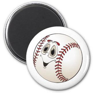 Baseball Angled Cartoon 2 Inch Round Magnet