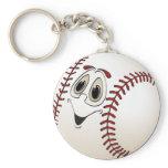 Baseball Angled Cartoon Basic Round Button Keychain