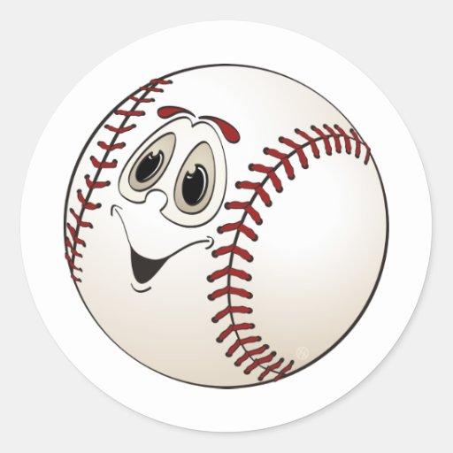 Baseball Angled Cartoon Round Sticker