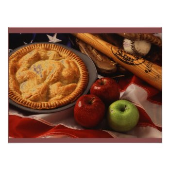 Baseball Apple Pie Art Poster by CREATIVEforBUSINESS at Zazzle