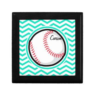 Baseball; Aqua Green Chevron Gift Box