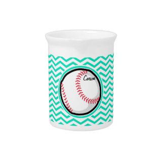 Baseball; Aqua Green Chevron Pitcher