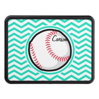 Baseball; Aqua Green Chevron Trailer Hitch Cover