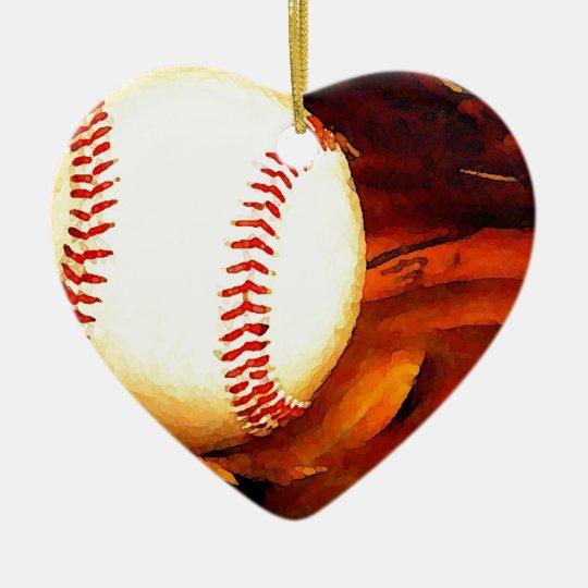 Baseball Art Ceramic Ornament