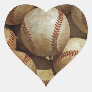 Baseball Art Heart Sticker