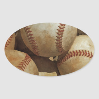 Baseball Art Oval Sticker
