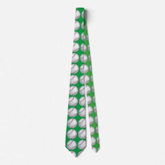 Baseball Art Pattern Green Tie