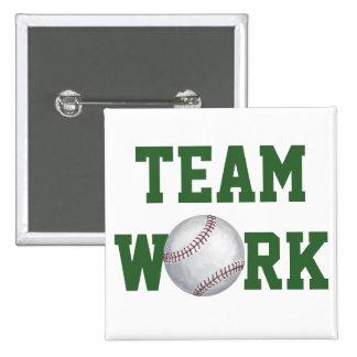Baseball Art Team Work Button