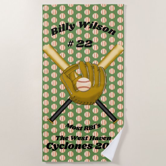 Baseball Award Beach Towel