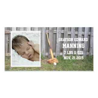 Baseball Baby Announcement Picture Card