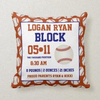 Baseball Baby Birth Announcement Pillow