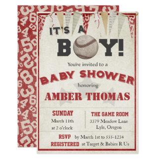 Baseball Baby Boy Shower Invitation