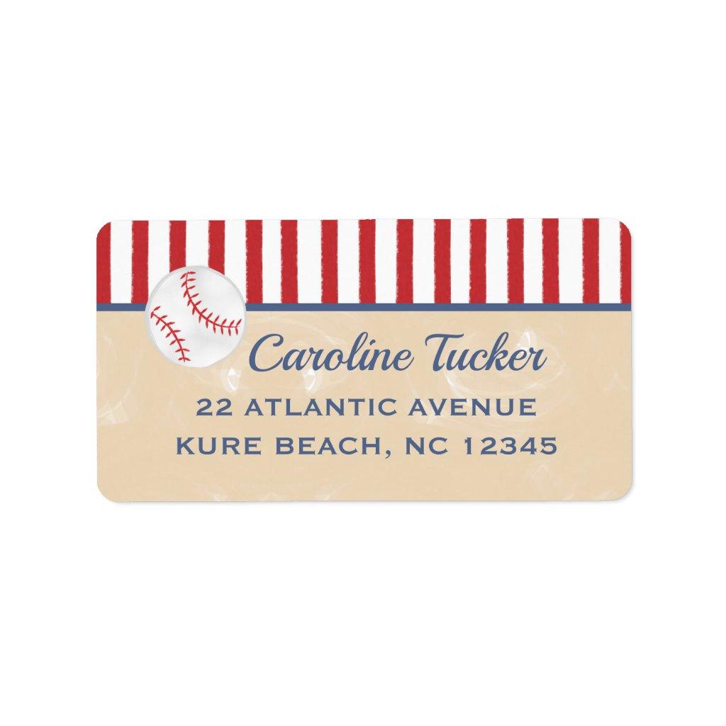 Baseball Baby Shower Address Label