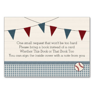 BASEBALL BABY SHOWER BOOK REQEUST CARD