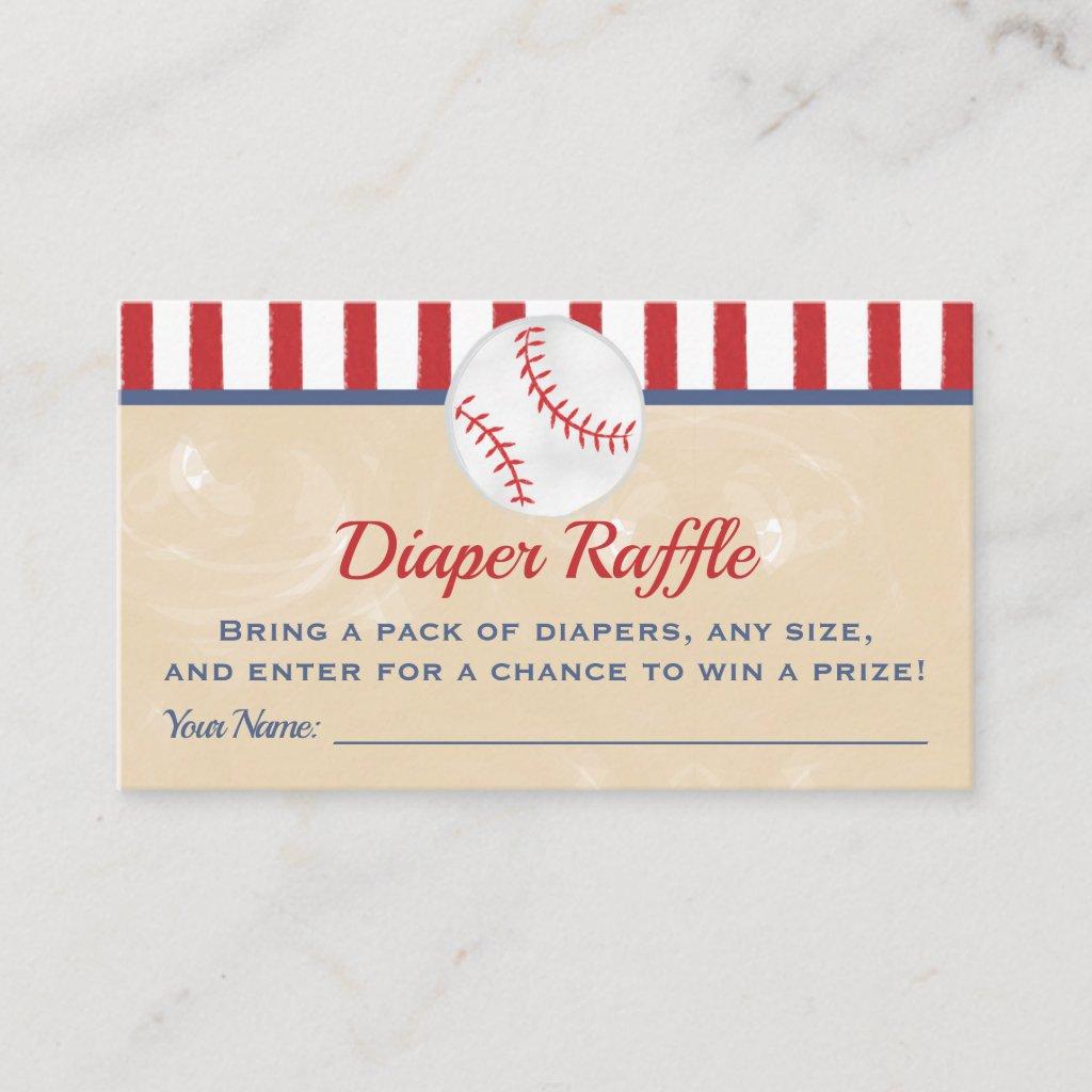 Baseball Baby Shower Diaper Raffle Ticket Enclosure Card