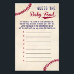 """Baseball Baby Shower Guess the Baby Food Game Flyer<br><div class=""""desc"""">Use our vintage baseball themed baby shower game cards to have the guests &quot;Guess the Baby Food.&quot;  Set out jars of baby food with the labels covered and have guests try to guess what the flavor of each jar is using sight,  smell,  and even taste.</div>"""