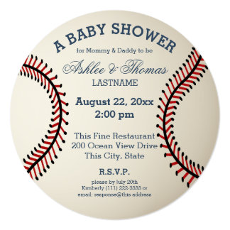 Baseball Baby Shower 5.25x5.25 Square Paper Invitation Card